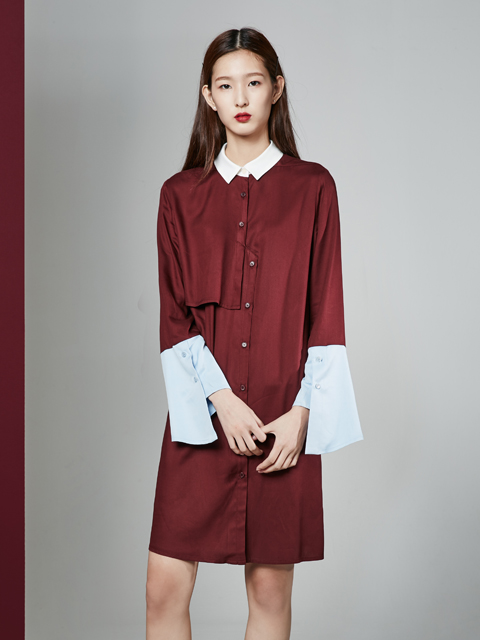 [30%] 16FW WIDE CUFFS DRESS_WINE
