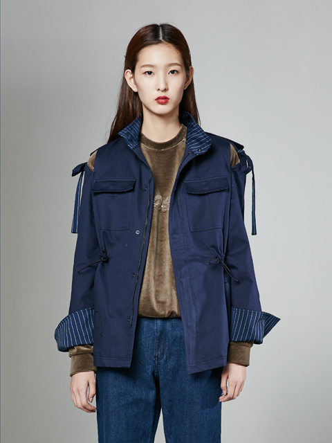 [30%] 16FW BEAUTY RIBBON UTILITY JACKET_NAVY