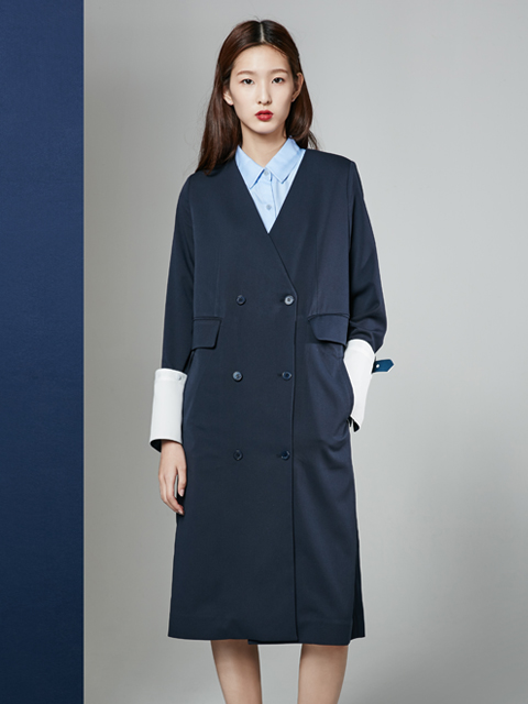 [30%] 16FW COLLARLESS DOUBLE COAT_NAVY