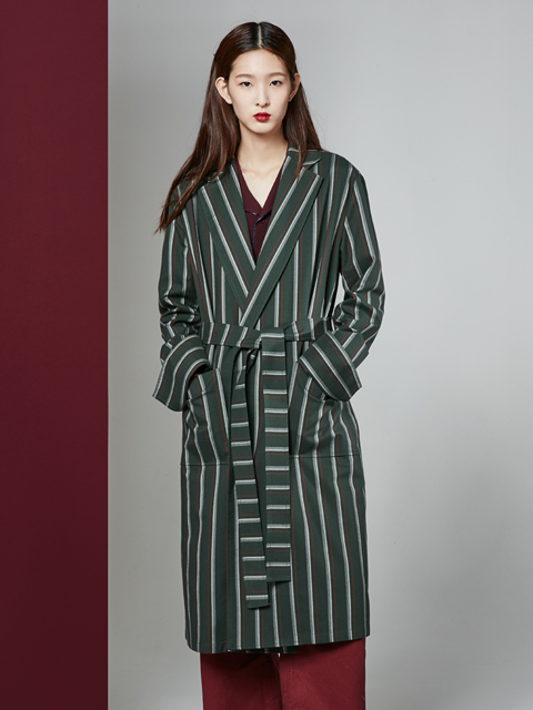 * UNISEX * 16FW BEAUTY STRIPE LONG COAT_KHAKI
