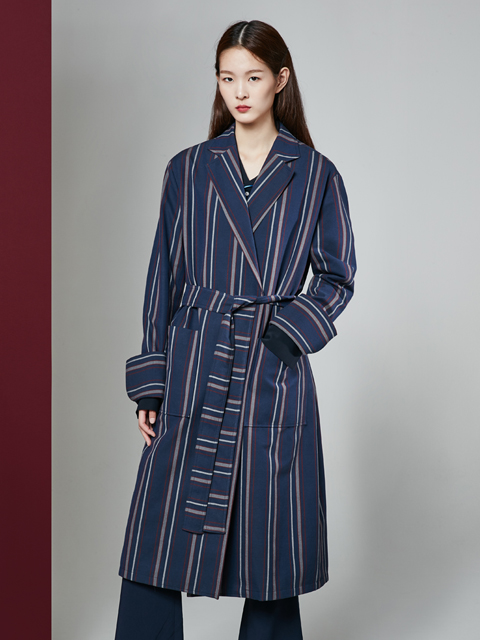 * UNISEX * 16FW BEAUTY STRIPE LONG COAT_NAVY