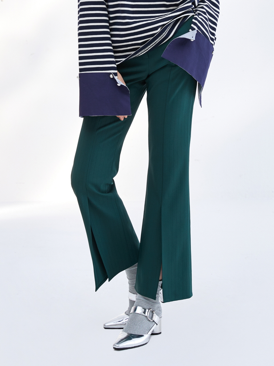 17SS FRONT SLIT PANTS_GREEN