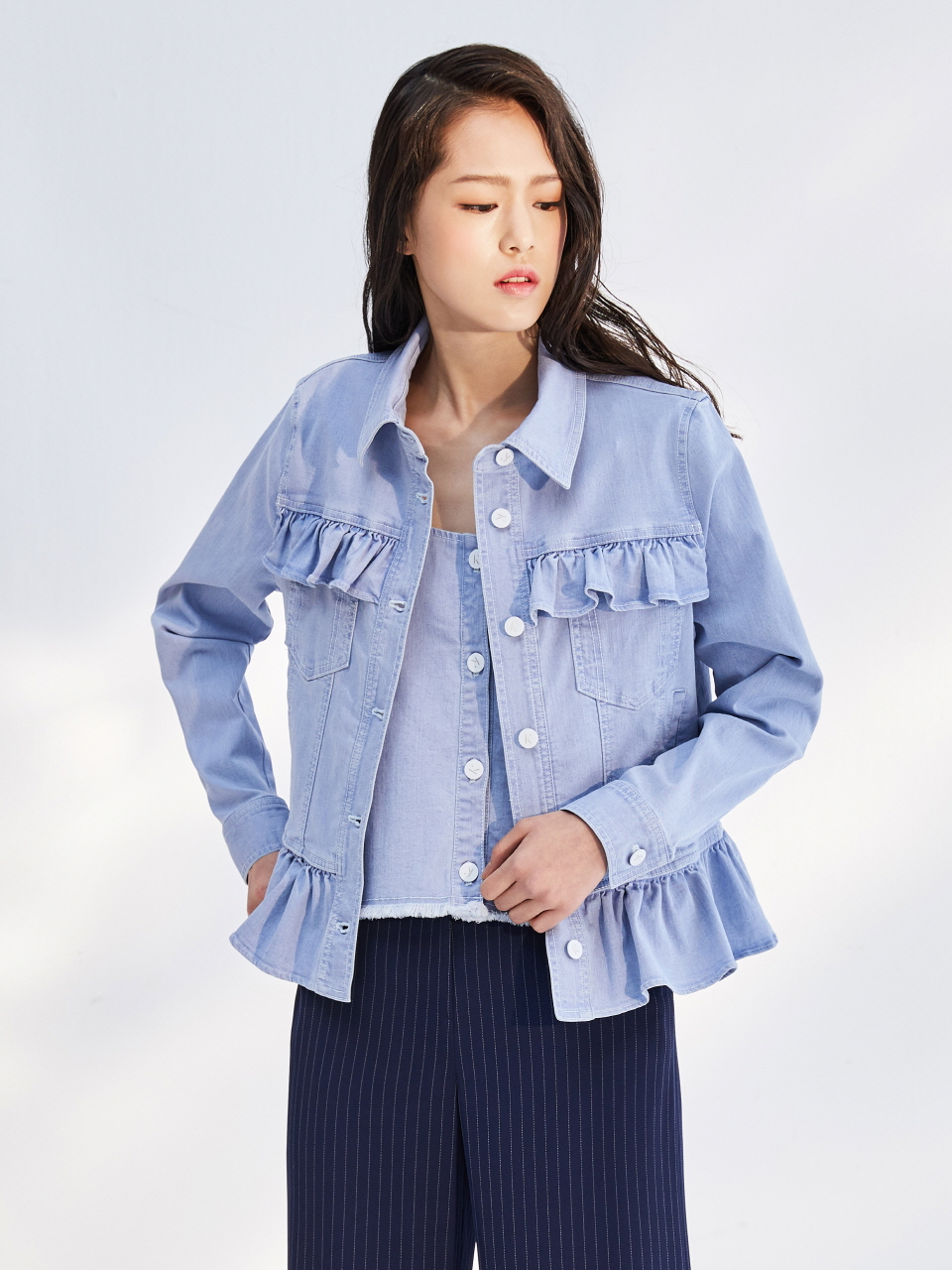 17SS FRILL DENIM JACKET_LIGHT BLUE