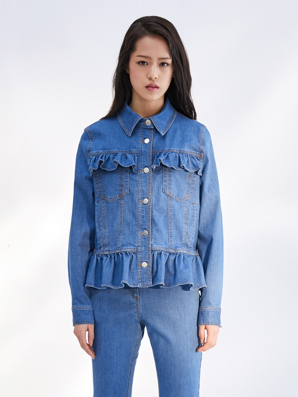 17SS FRILL DENIM JACKET_BLUE