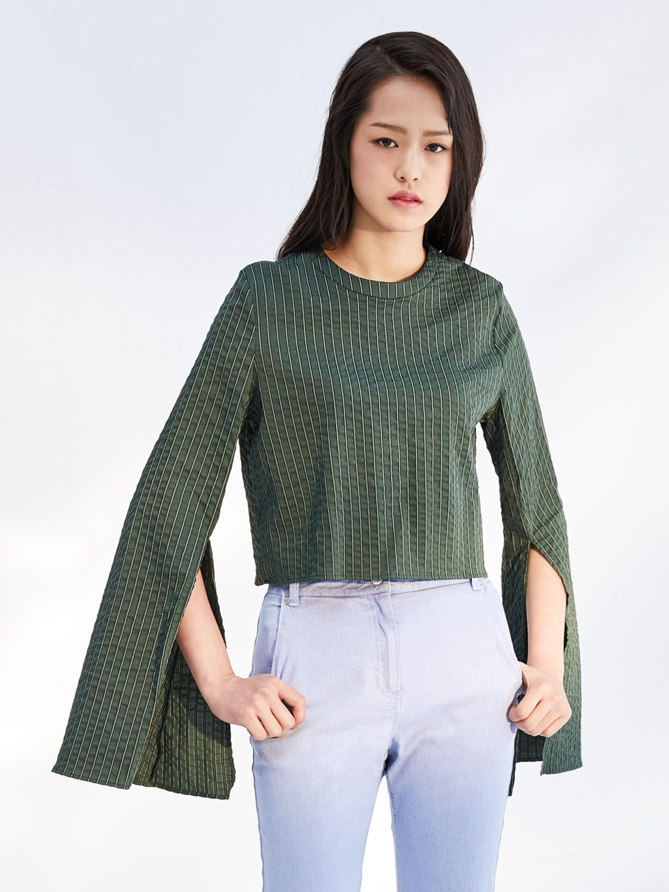 17SS SEERSUCKER CROPPED TOP_GREEN