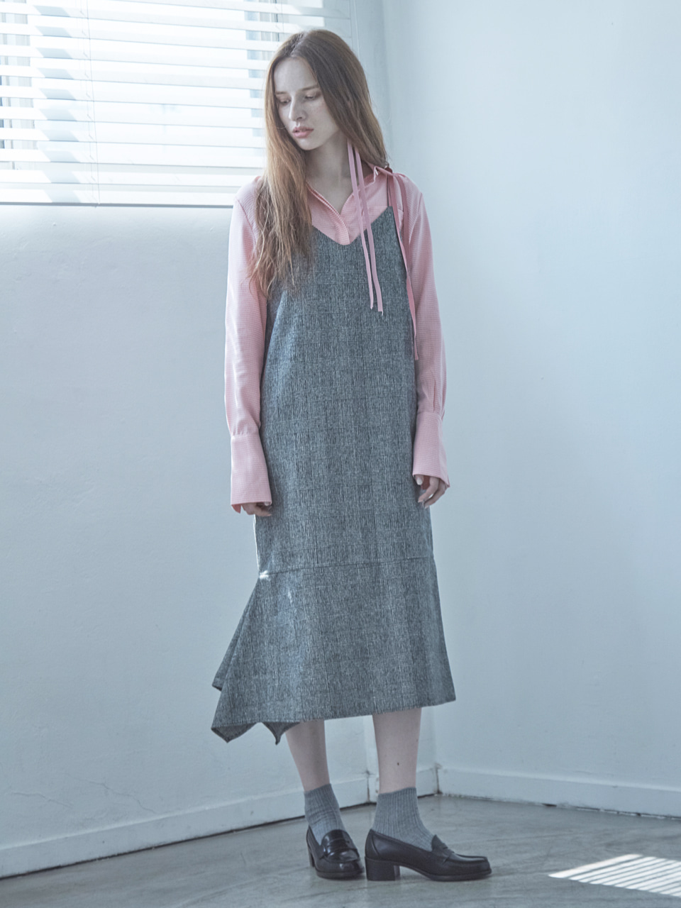 17FW DRAPED SLIP DRESS_GRAY