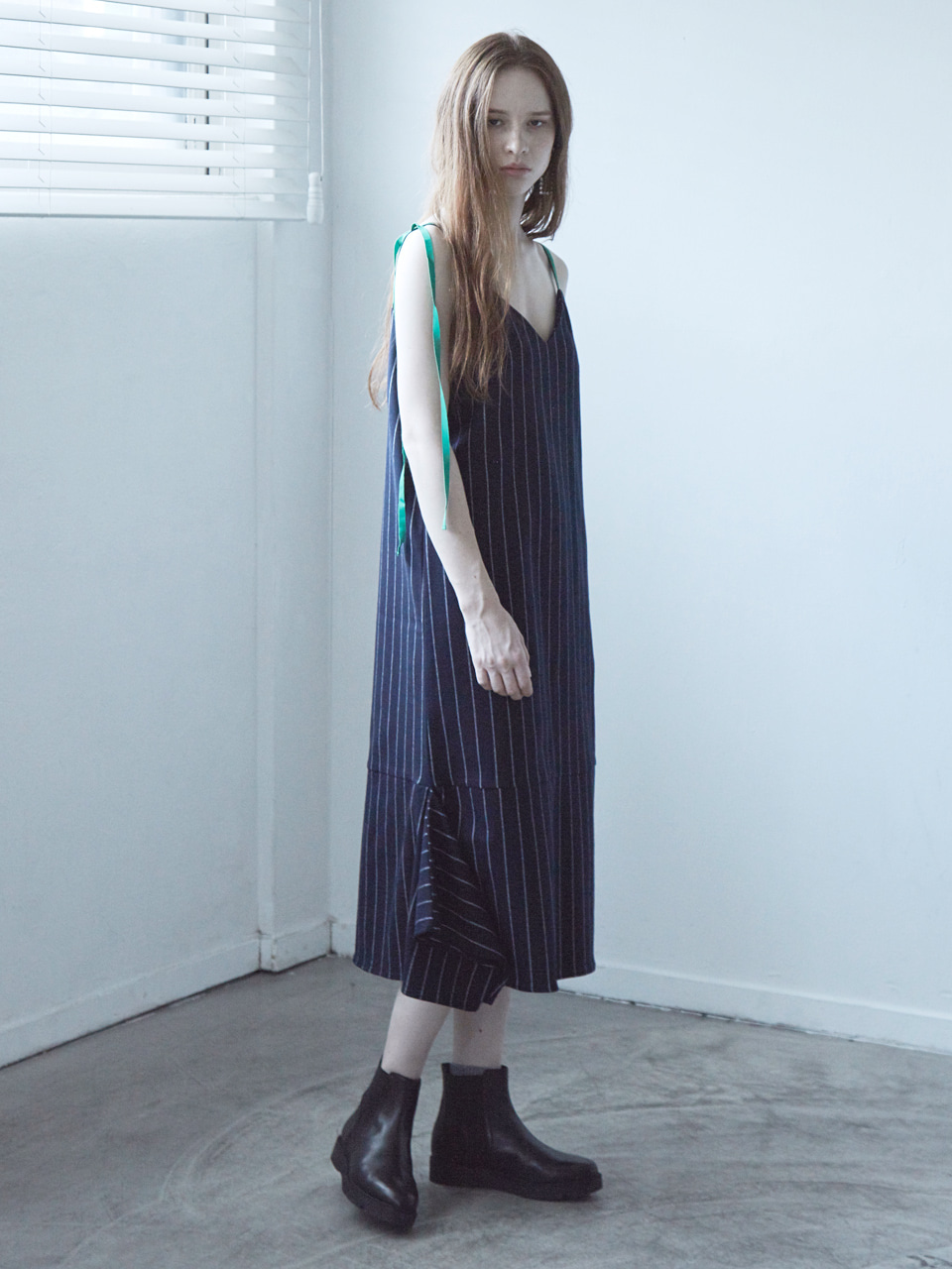 17FW DRAPED SLIP DRESS_NAVY