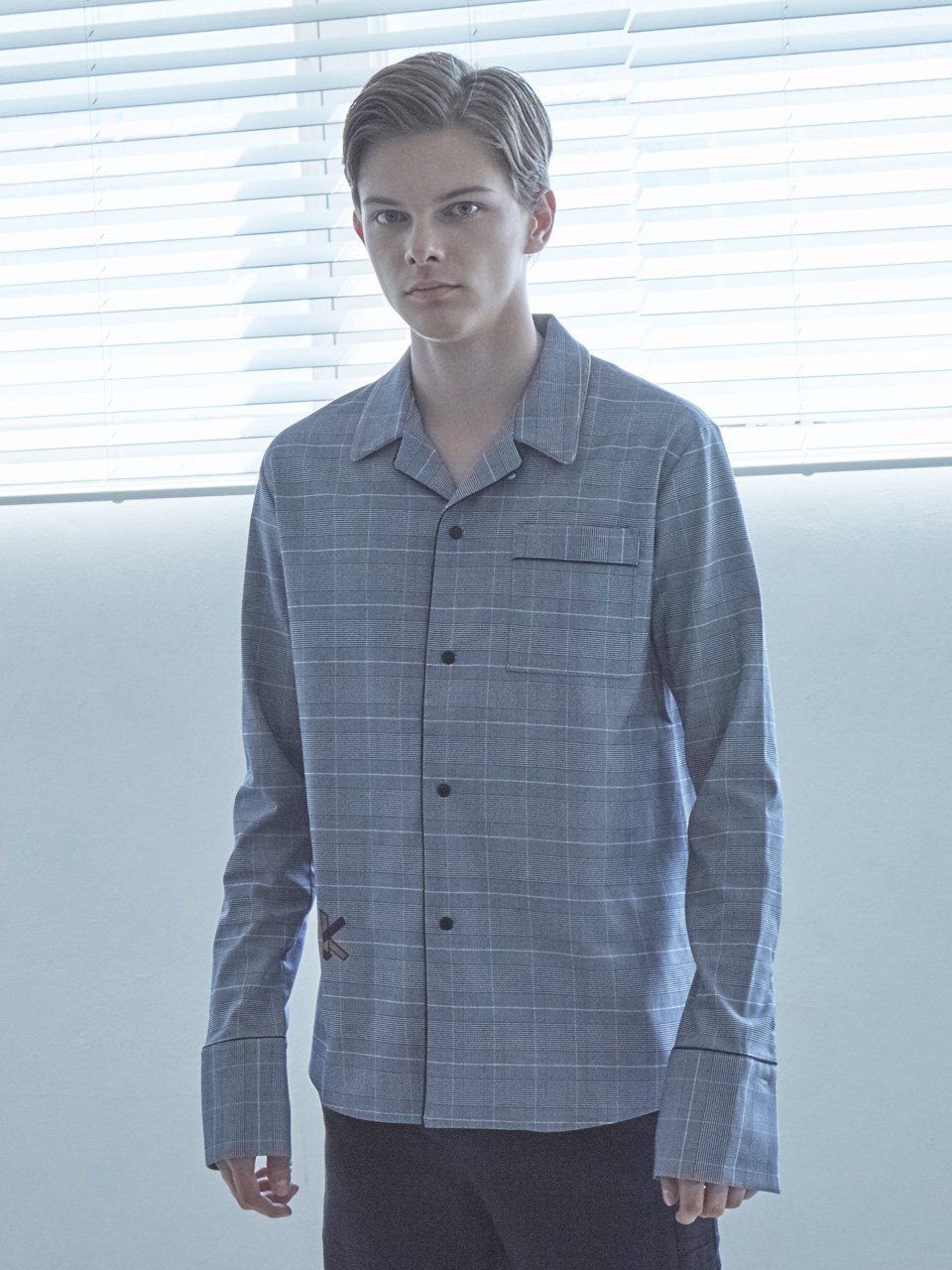 17FW K PAJAMA SHIRT_NAVY CHECK