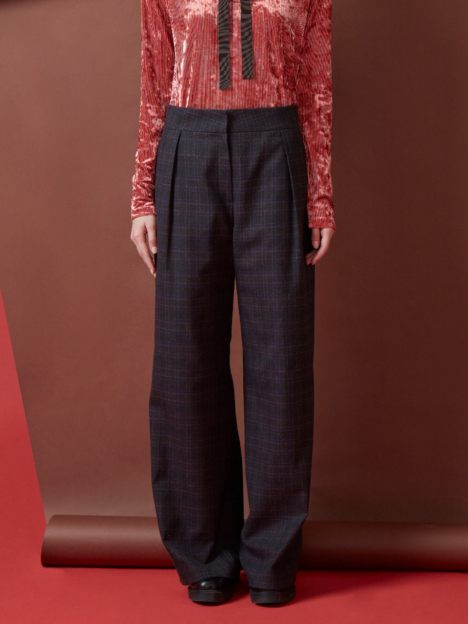 17FW CHECK WIDE PANTS_BROWN