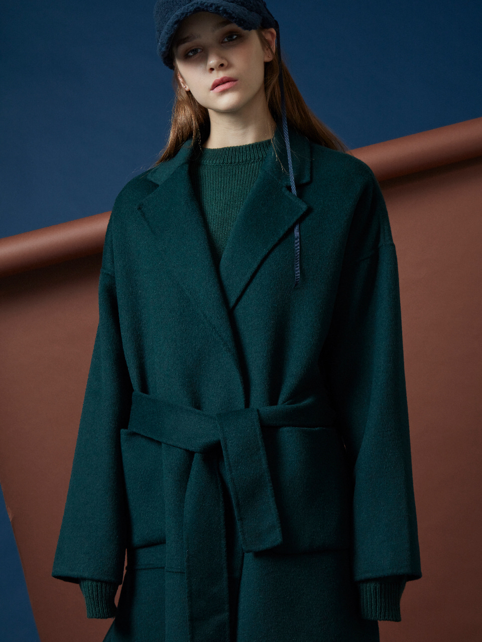 17FW DRAPED HANDMADE COAT_GREEN