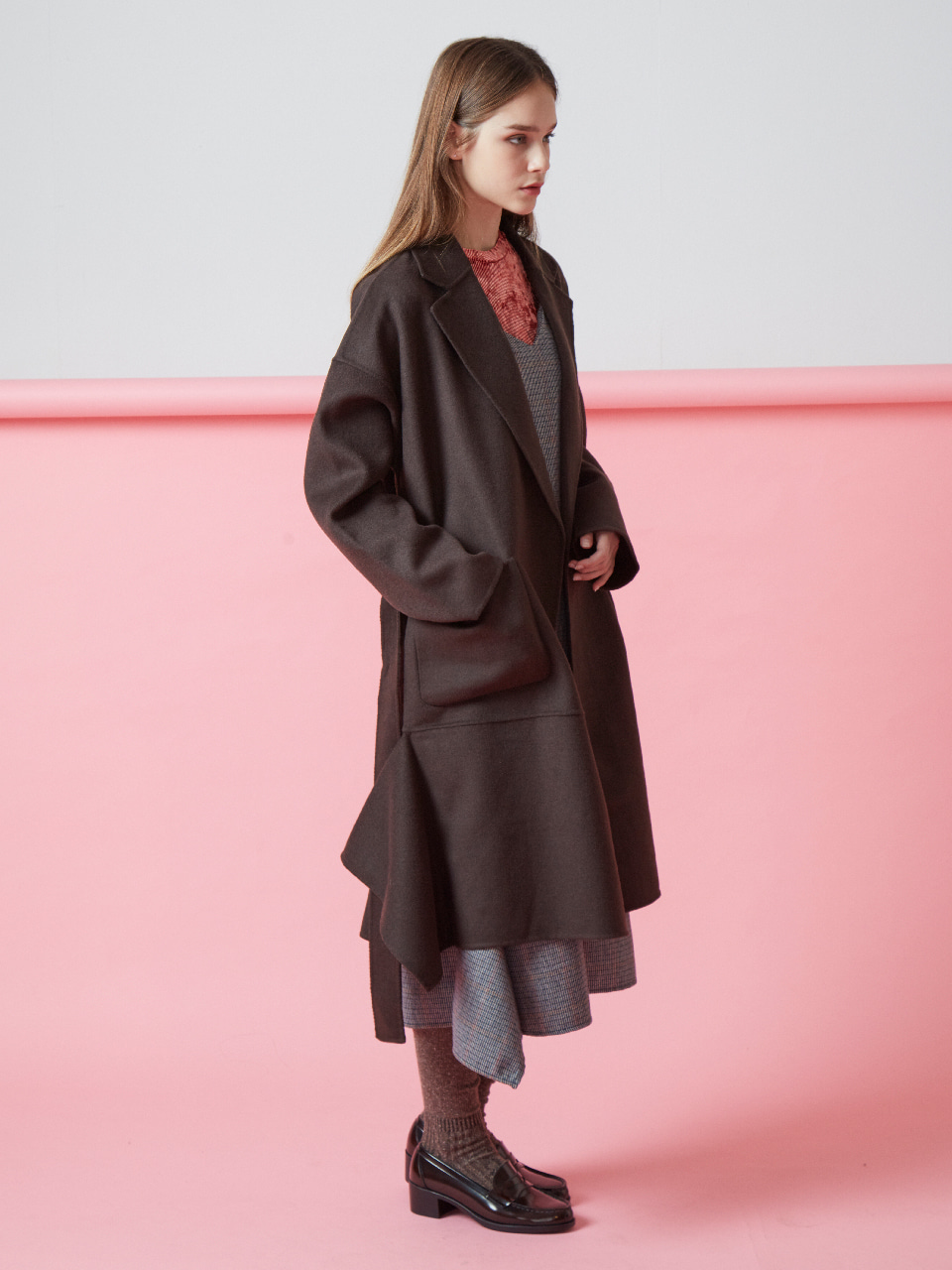 17FW DRAPED HANDMADE COAT_BROWN