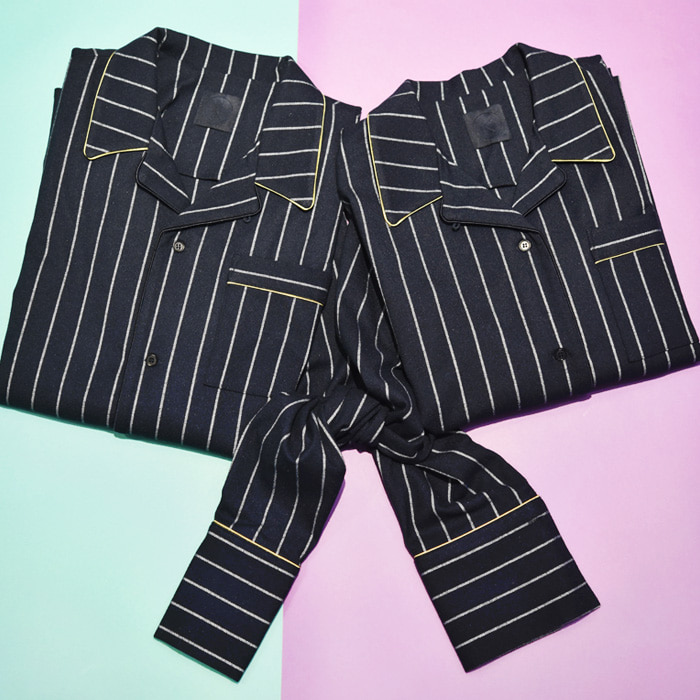 [VALENTINE'S DAY 1+1] K PAJAMA SHIRT_NAVY STRIPE