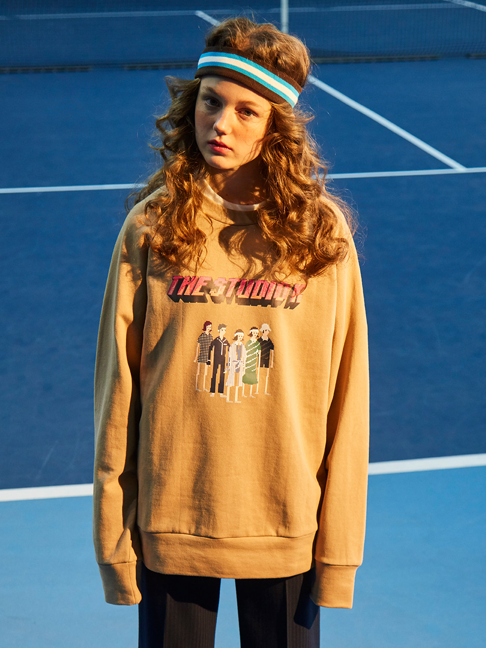 18SS PIXEL CHARACTER SWEAT TOP_BEIGE
