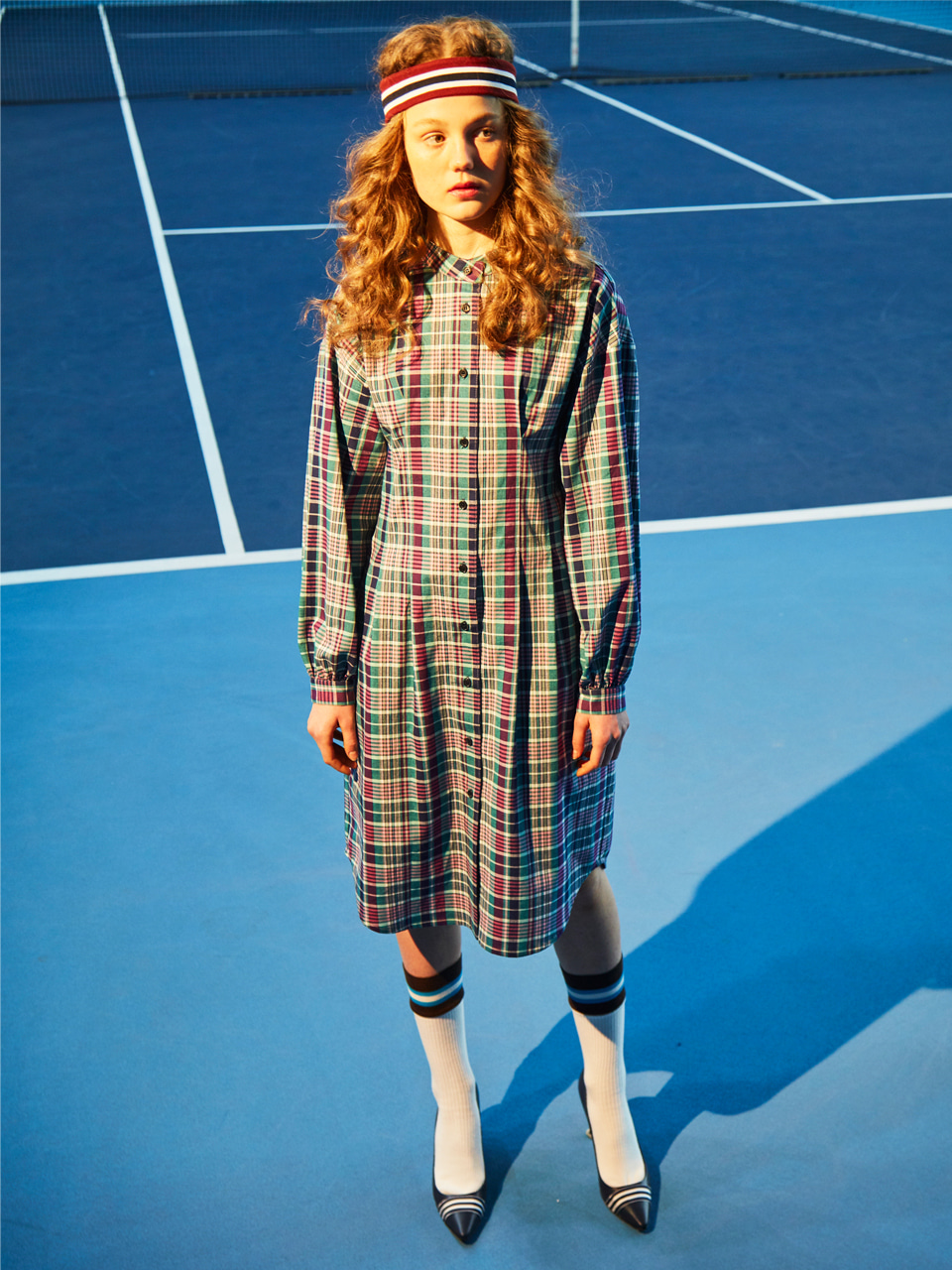 18SS CHECK WAIST PINTUCK DRESS_GREEN