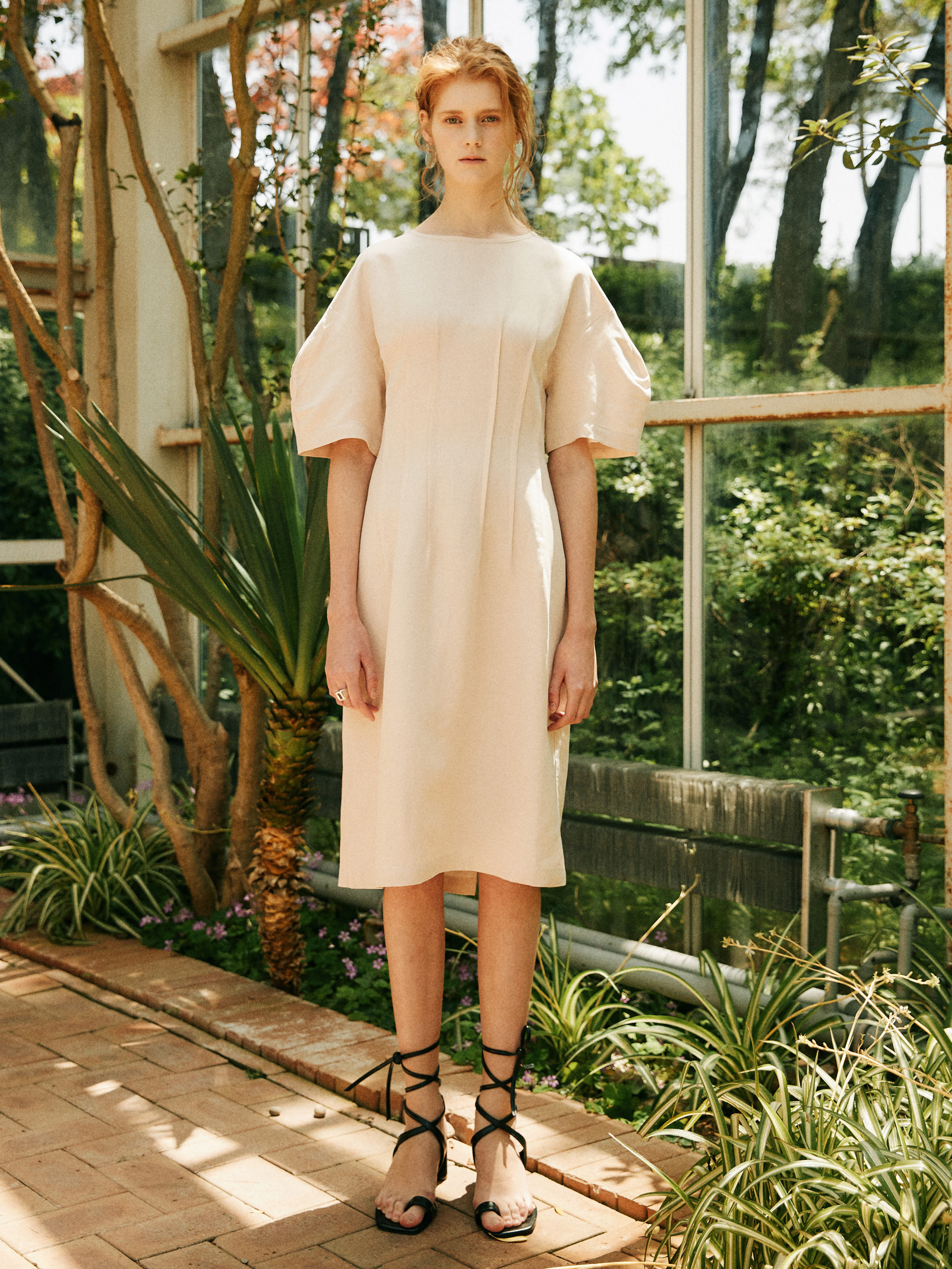 18SS LINEN PINTUCK DRESS_IVORY