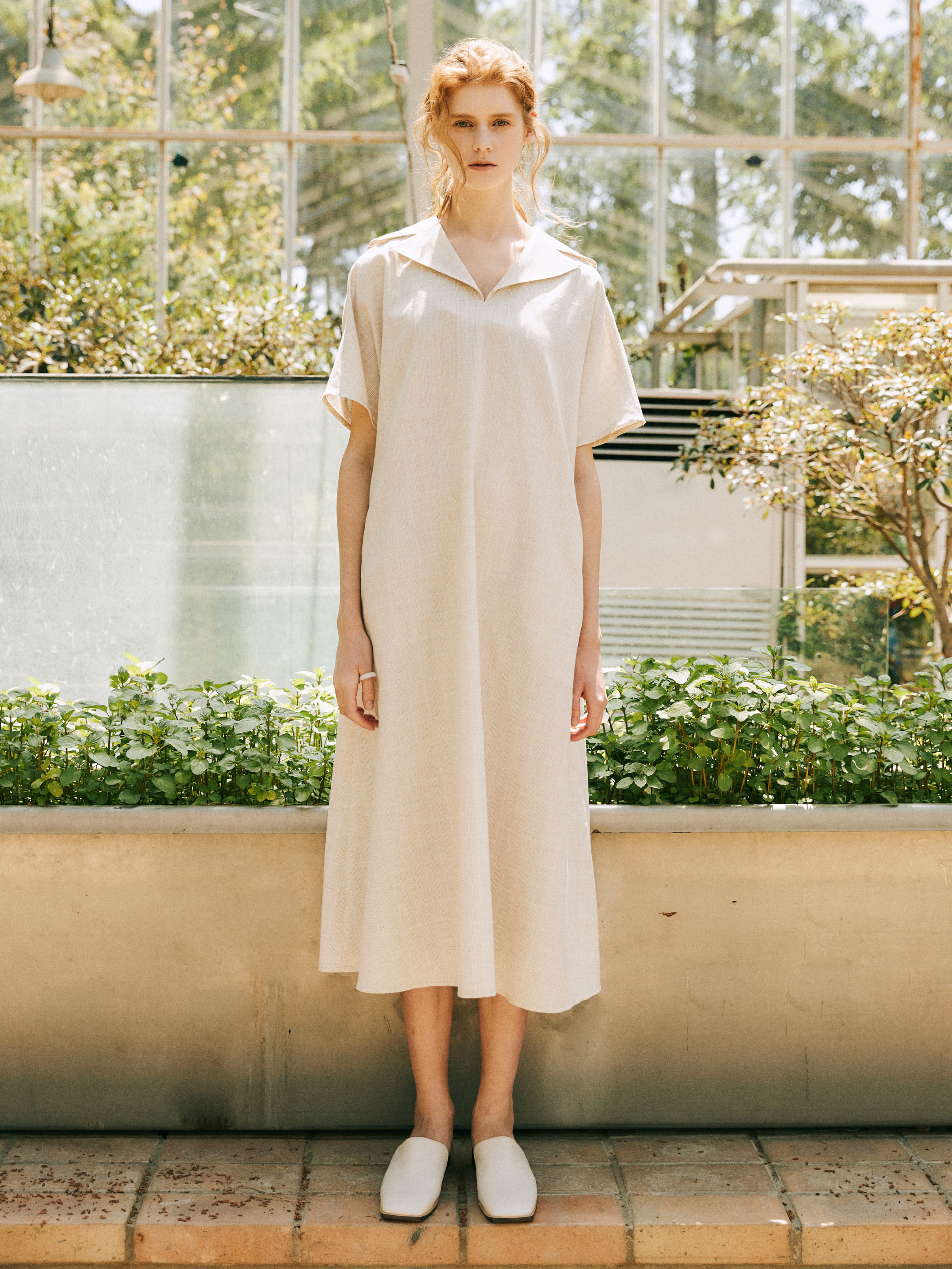 18SS LINEN SAILOR LONG DRESS_IVORY