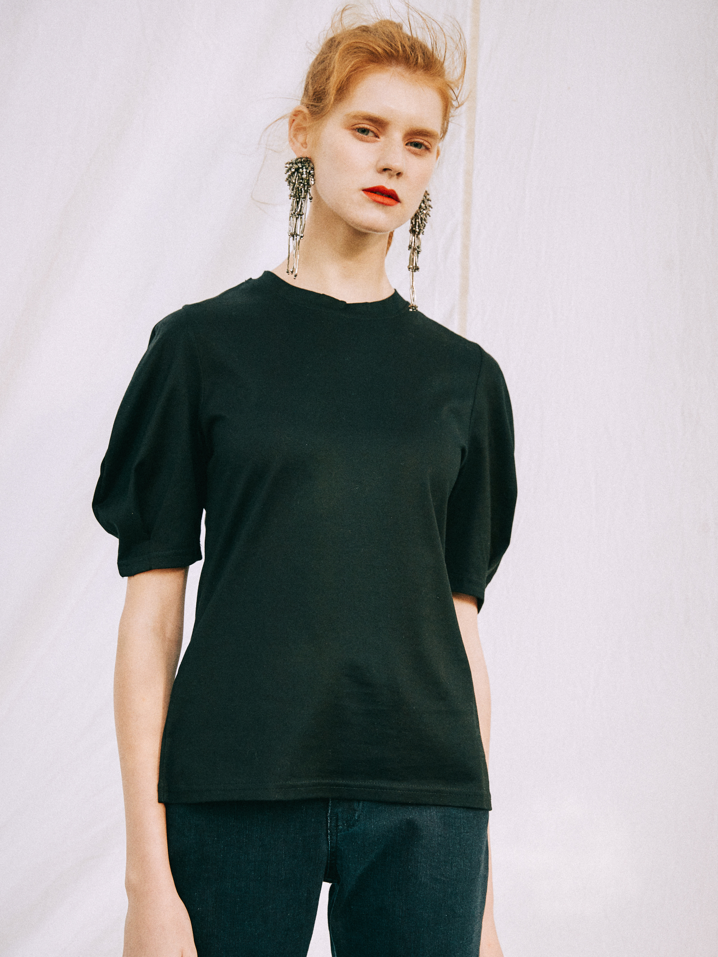 18SS VOLUME SLEEVE T-SHIRT_BLACK
