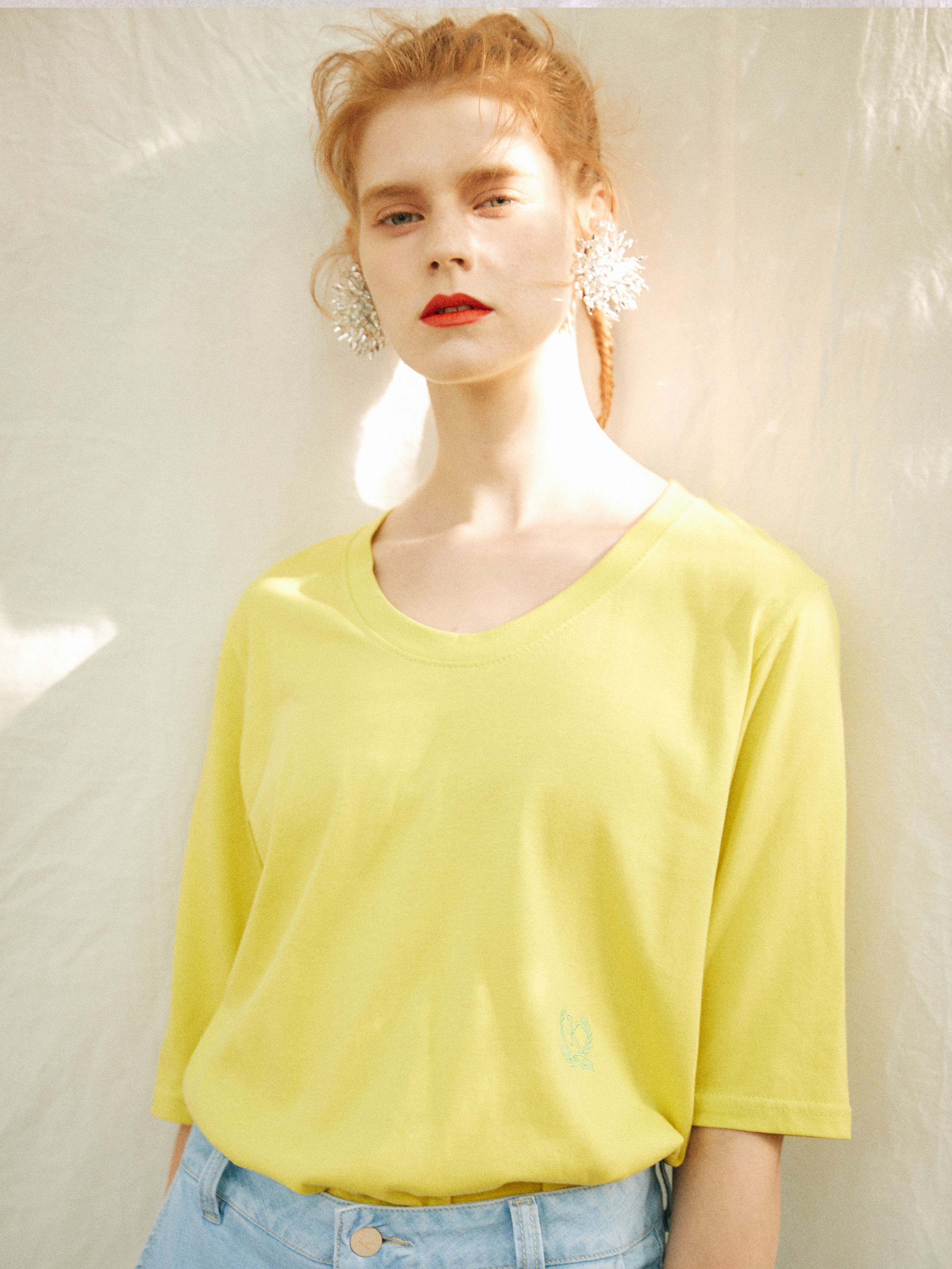 18SS U-NECK T-SHIRT_LIME