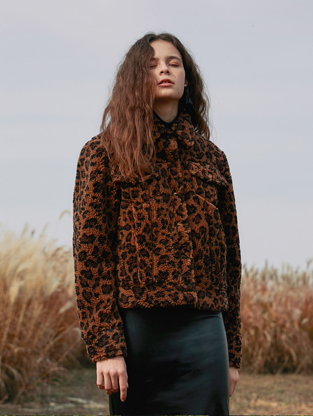 18FW STITCH ECO FUR HALF JACKET_LEOPARD