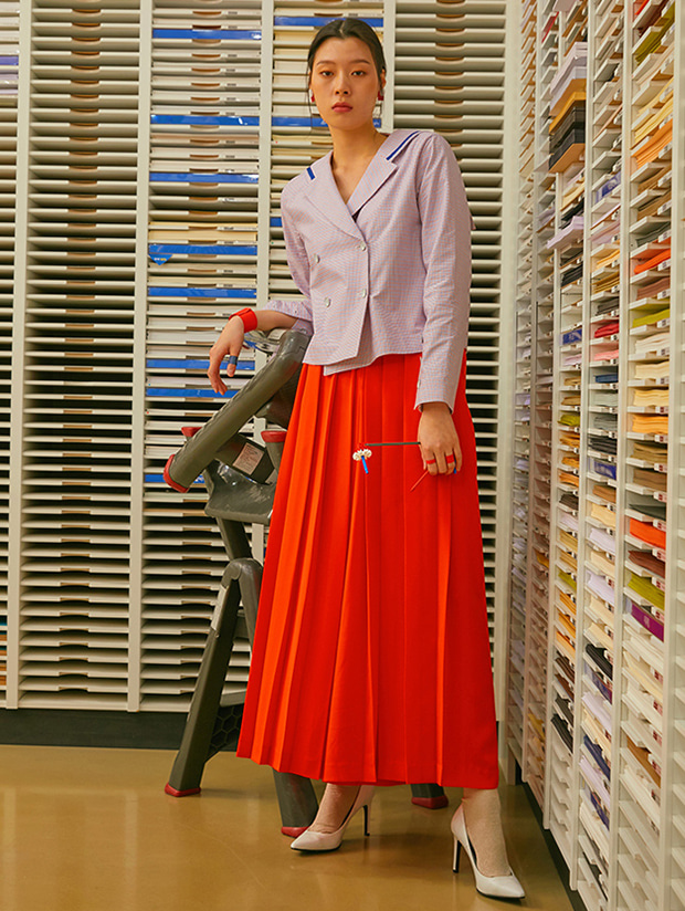 19SS PLEATS WIDE PANTS_RED ORANGE