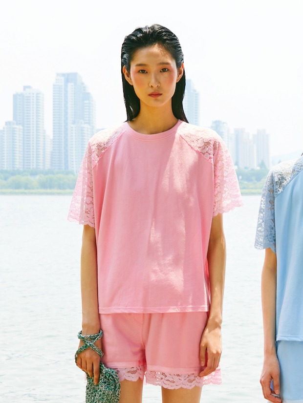 19SS BACK LACE T-SHIRT_PINK