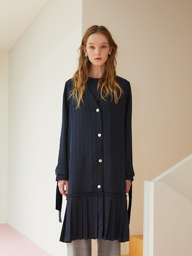 19FW 1ST PLEATS RIBBON ROBE CARDIGAN_NAVY