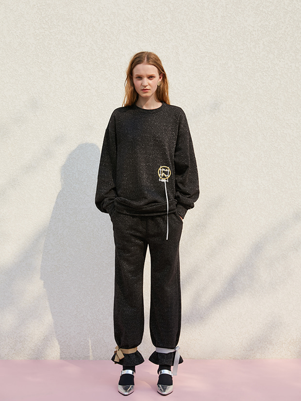 19FW 1ST GLITTER RIBBON JERSEY PANTS_BLACK