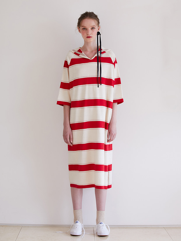 19FW PRE-FALL SAILOR STRIPE DRESS_RED