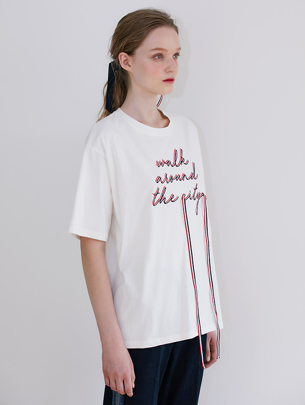 19FW PRE-FALL RIBBON GRAPHIC T-SHIRT_WHITE