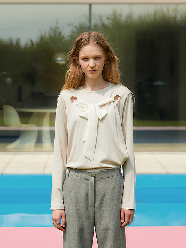 19FW 1ST RIBBON TIE LONG SLEEVE T-SHIRT_BEIGE