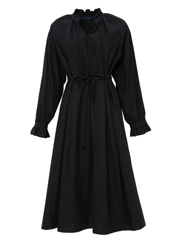20SS 1ST SHIRRING LONG DRESS BLACK