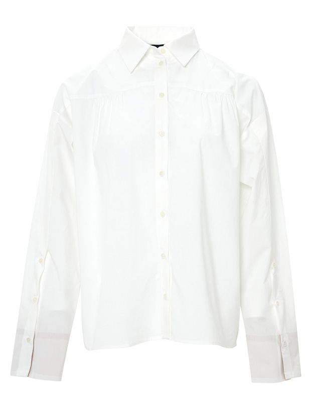 20SS 1ST SHIRRING BUTTON SHIRT WHITE