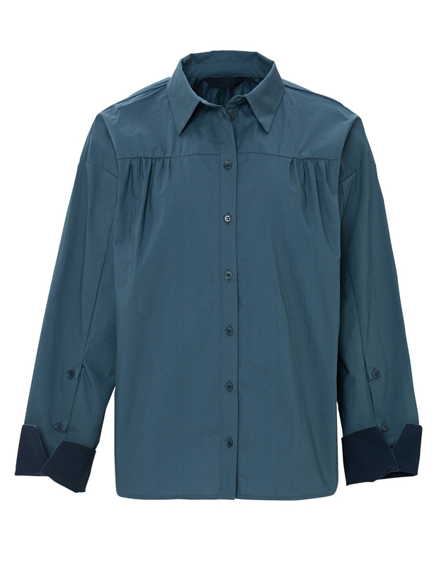 20SS 1ST SHIRRING BUTTON SHIRT DEEP GREEN