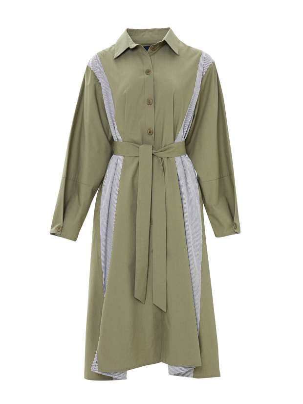 20SS 1ST STRIPE POINT SHIRT DRESS KHAKI